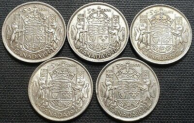 Lot of 5x Canada Silver 50 Cent Half Dollars - Dates: Complete 1940 to 1944