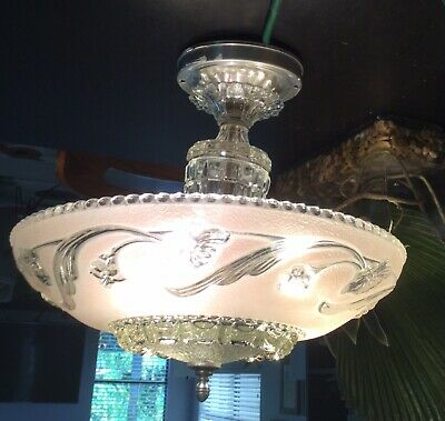 STUNNING VINTAGE CHANDELIER PENDANT CEILING LIGHT w PINK FROSTED GLASS SHADE