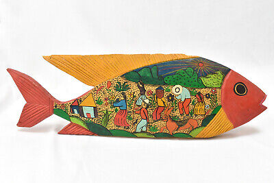 """Hand Carved Painted Wood Fish 17"""" Colorful Folk Art Farmers"""