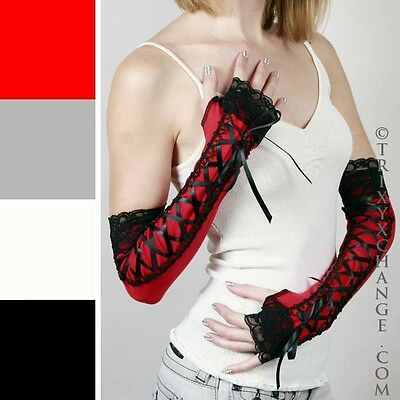 Long Black Lace Up Gloves Corset Fingerless Sleeves Red Steampunk Victorian Hand