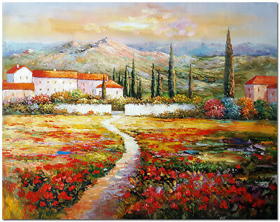 """Tuscany Landscape - 24x20"""" Hand Painted Modern Impressionist Oil Painting Art"""