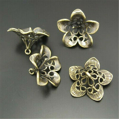 Antique Bronze Hollow Brass Flowers Pendant Charms DIY Jewelry 15x8mm 14pcs/pack