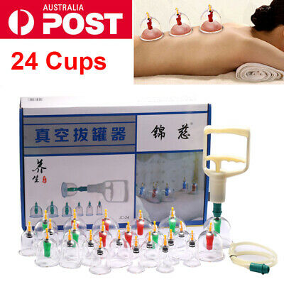 24 Cups Set Vacuum Cupping Set Massage Acupuncture Suction Massager Pain Relief