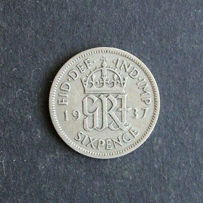 1937 - Lucky Silver Sixpence - Great Condition. George VI