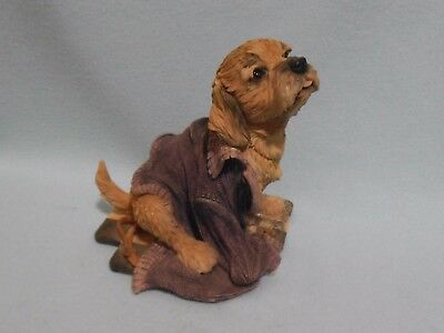 LABRADOODLE PUPPY PLAYING Figurine ornament model dog pup