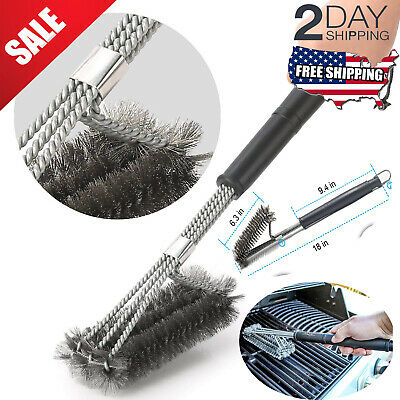 """BBQ Grill Brush 18"""" Grilling Tool Cleaning Barbecue Stainless Steel Woven Wire"""