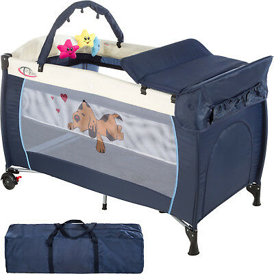 New Portable Child Baby Travel Cot Bed Playpen with Entryway Navy Blue new