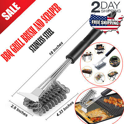 """Grill BBQ Brush & Scraper 18"""" Grilling Tool Cleaning Stainless Steel Woven Wire"""