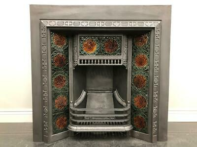Fully Restored Original Antique Victorian Tiled Insert Grate Fire Fireplace