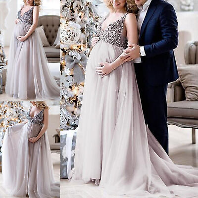 0953ef8e74ee9 Women Pregnant Sling V Neck Sequin Cocktail Long Sexy Maxi Prom Gown Dress  US