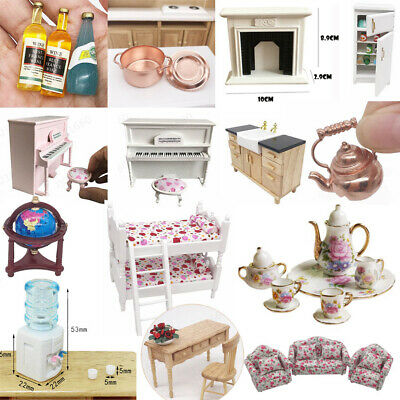 Mini Dollhouse Furniture Sofa Desk Plant Miniature Room Kids Pretend Play Toy
