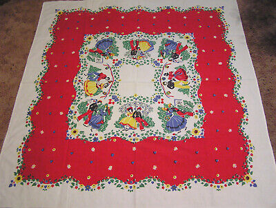 Vtg Leacock Tablecloth Courting Couples Red Blue Black Yellow Hearts & Flowers