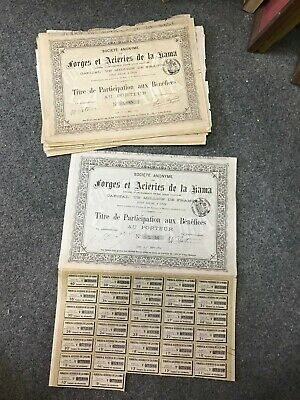 lot de 10 titre de participation aux bénéfices Forges & aciéries de la Kama 1884