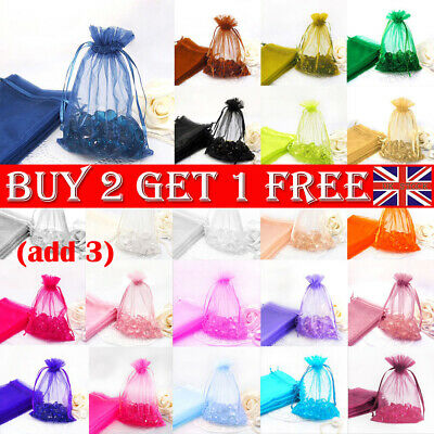 10x Organza Wedding Party Favour Gift Candy Bags Jewellery Pouch Large Small -BG