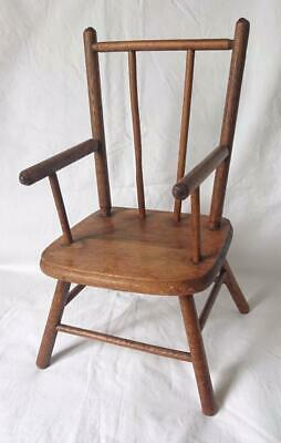 Antique Victorian Scottish Oak & Elm Apprentice Piece Windsor Chair 1880'S