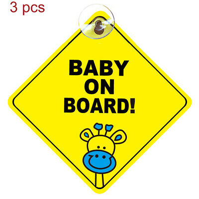 3x BABY ON BOARD WARNING SAFETY SIGN STICKER for car vehicle +window suction cup
