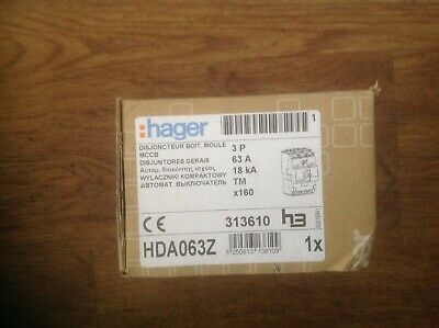 Hager HDA063Z 63a TP MCCB Brand New in box