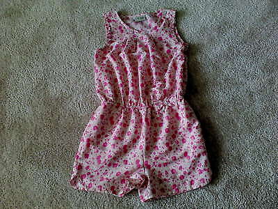 Girls Pink Floral Playsuit (8 Years) Immaculate - NEXT