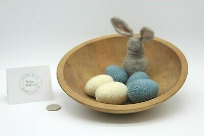 Primitive Folk Art Waldorf Needle Felted Wool Easter Eggs & Bunny Bowl Fillers