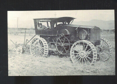 Real Photo 1910 Herr Gas Tractor Farming Advertising Postcard Copy Gasoline