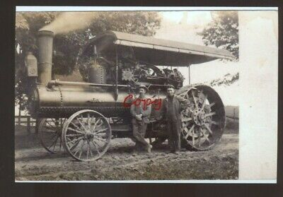 Real Photo Case Steam Tractor Farm Machinery Farming Postcard Copy