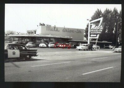 REAL PHOTO MEL'S DRIVE IN RESTAURANT 1950's CARS ADVERTISING POSTCARD COPY