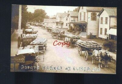 Real Photo Elmer New Jersey Downtown Street Scene Farming Postcard Copy