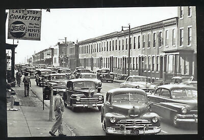 Real Photo Camden New Jersey Downtown Street Scene Old Cars Postcard Copy