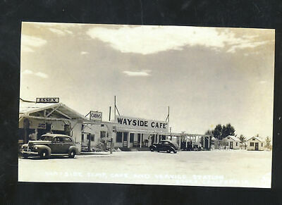 Real Photo Essex California Route 66 Roadside Gas Station Cars Postcard Copy