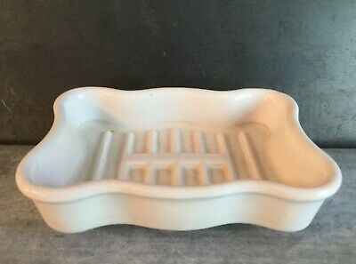 Antique STANDARD sink bridge faucet SOAP HOLDER dish white porcelain farmhouse