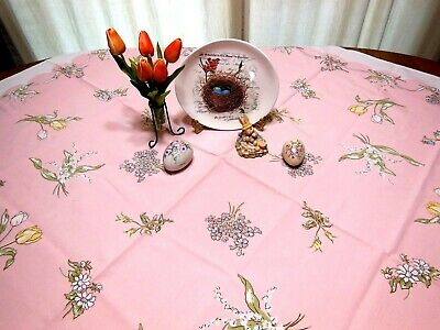 Vintage Pink LEACOCK Tablecloth Kate Greenaway Lily of Valley Roses Tulips