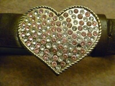Next Brown Synthetic Faux Leather Belt with Large Heart Diamante Buckle 3 4 5 6