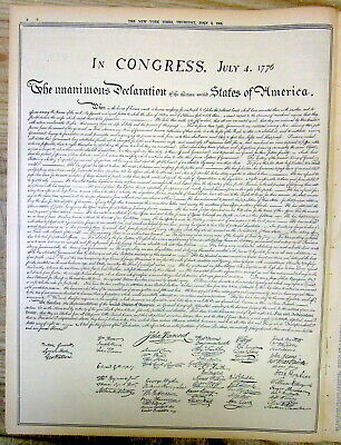 1935 NY Times newspaper w large facsimile reprint of DECLARATION OF INDEPENDENCE