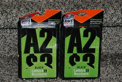 """Elmer's Repositionable Black Letters Numbers 2.5"""" 308 Paper Pieces - 2 Packs"""