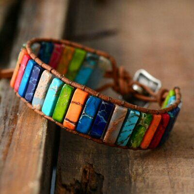 Chakra Bangle Jewelry Handmade Natural Stone Tube Beads Leather Wrap Bracelets