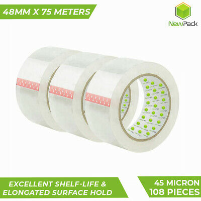 36Pcs Clear Packing Tape Packaging 48mm X 75 Meter Transparent 45 Micron Sticky