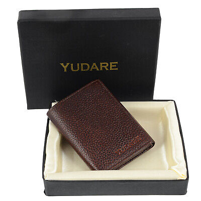 6dac323be3ce Men's Genuine Leather Trifold Slim Cowboy Brown Wallet Coins Credit Card  Holder