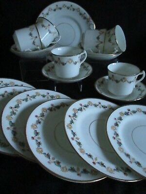 Antique china  Tea  set cups & saucers  plates x 6 pretty garland design