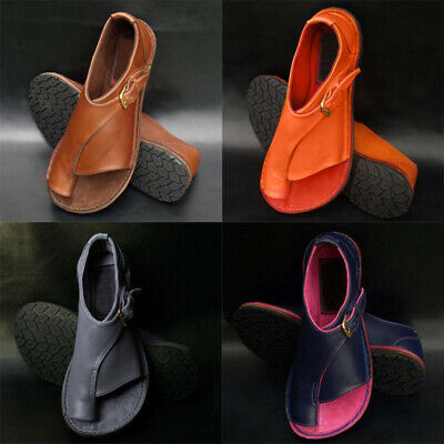 Womens PU Leather Flat Sandals Ladies Comfy Slip On Shoes For Bunion Corrector
