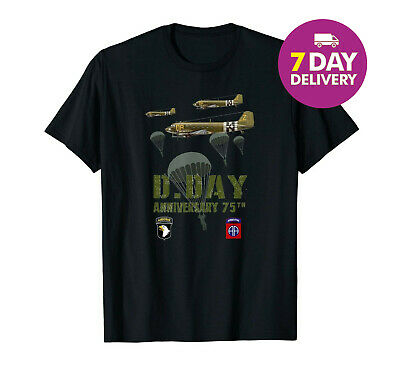 75 th Anniversary D-Day WWII T-Shirt Black Cotton Size S-3XL