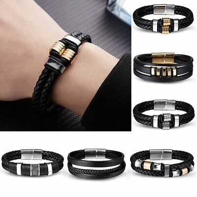 Unisex Women Men Punk Handmade Braided Leather Steel Magnetic Clasp Bracelet