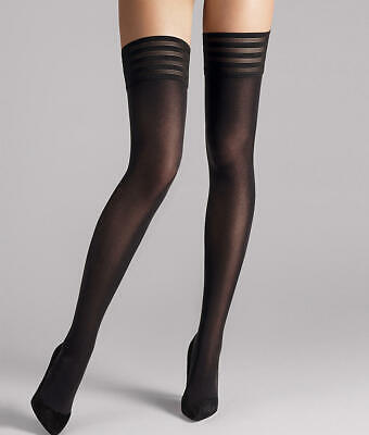 Wolford Black Velvet Light 40 Denier Thigh High Tights Women/'s Size L 10720