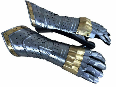 Gauntlet Gloves Armor Pair w/ Brass Accents Medieval Knight Crusader,Steel+F>S
