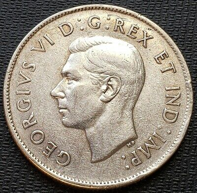 1944 Canada 80% Silver 50 Cent Half Dollar Coin - Free Combined Shipping