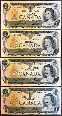 Lot of 4x 1973 Bank of Canada $1 One Dollar Banknotes - Great Condition