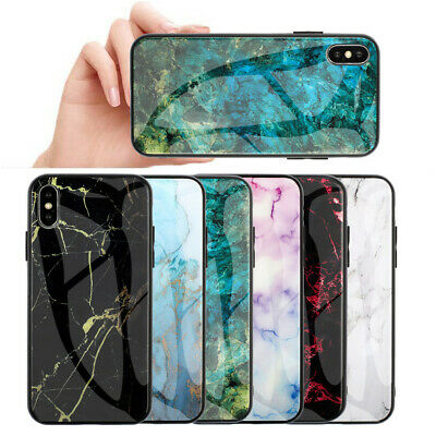 Tempered Glass Back Glossy Marble Case for iPhone 6 6S 7 8 Plus XR XS Max Cover
