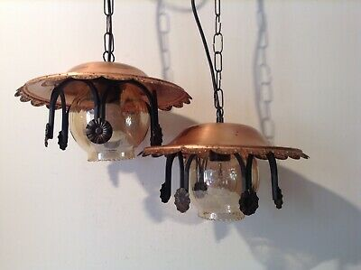Vintage Farmhouse Lantern Style Ceiling Lights with Copper Metal Hood (3451)