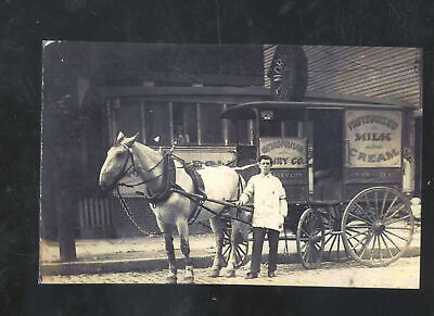 Real Photo Jersey City New Jersey Nj Dairy Co. Delivery Wagon Postcard Copy