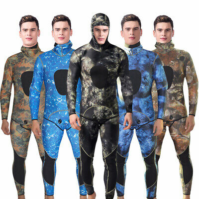 Men Camouflage 3mm Neoprene 2-Piece Weisuits Spearfishing Snorkeling Diving Suit
