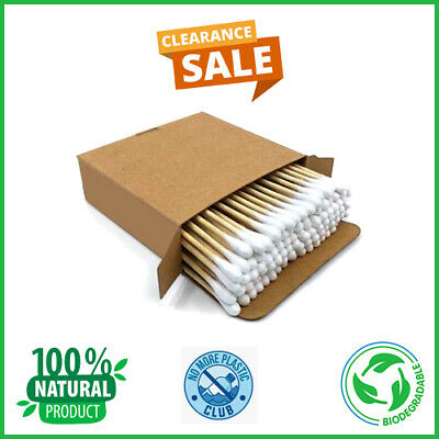 Bamboo Wooden Cotton Ear Buds Swabs 100% Natural Vegan Ecofriendly Biodegradable